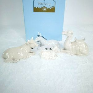 Porcelain Nativity Animal Figurine Set